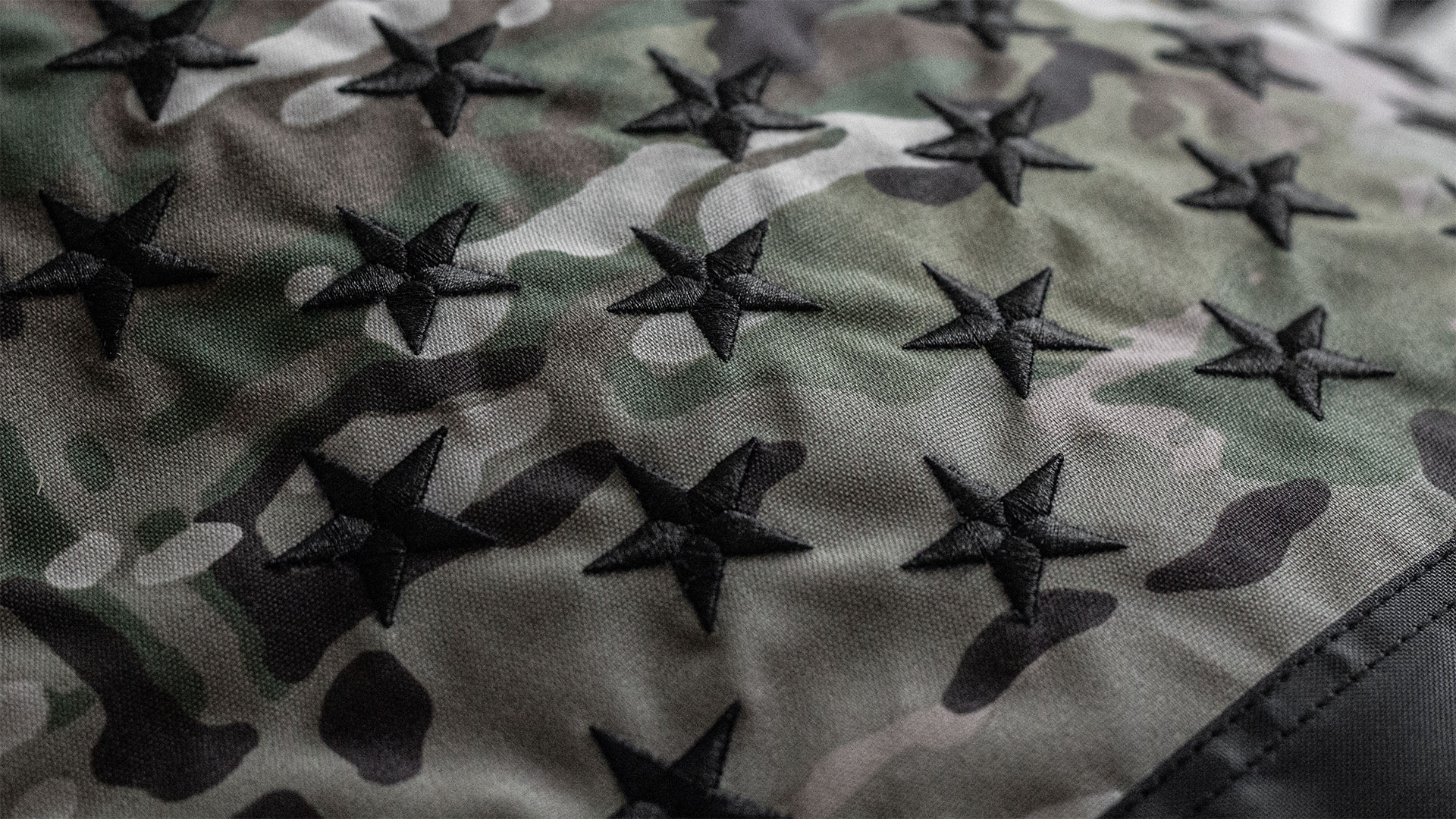 Black And Multicam American USA Flag With Black Stars Detail 1