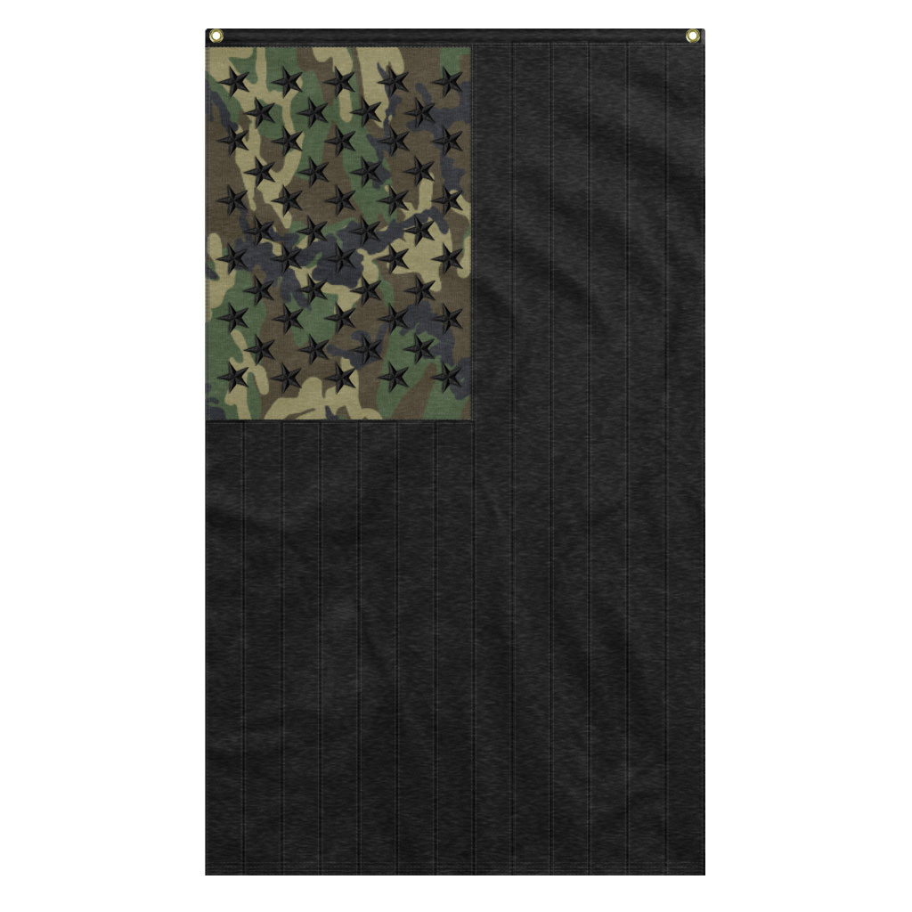 Black And Woodland Camouflage American USA Flag With Black Stars