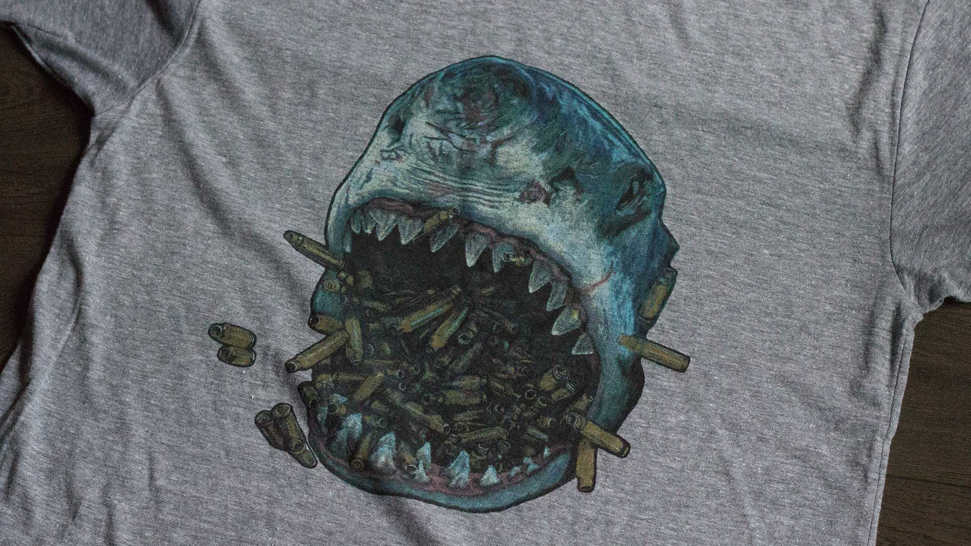 Brass Shark TriGrey T-Shirt Detail 1
