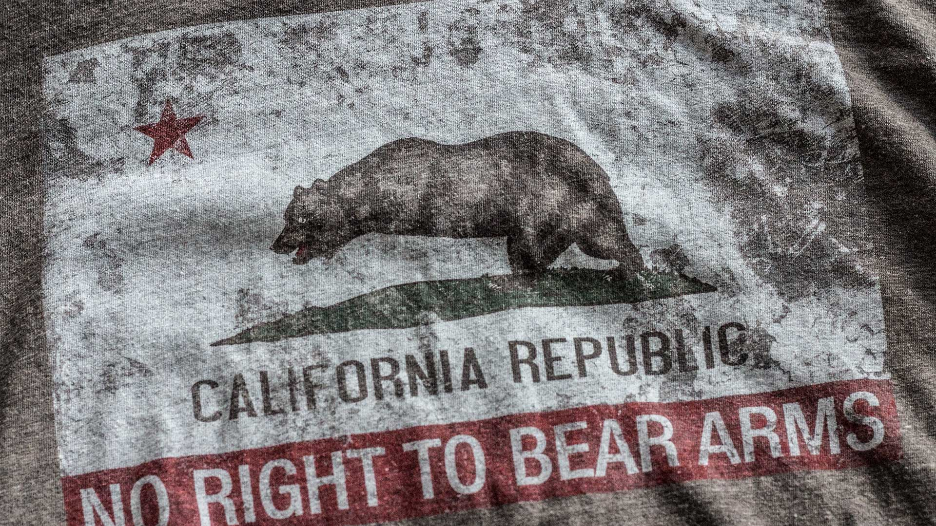 California Flag RKBA Infringed T-Shirt Detail 1 Brown